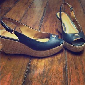 Coach wedges, navy blue. Size 7